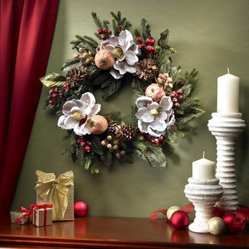 24 in. Magnolia Pinecone & Berry Wreath