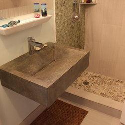 """Miami Eclectic - Floating Ramp Sink, 28"""" x 20"""" x 6""""tall, Hand Pressed finish, dark grey"""