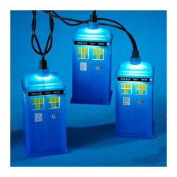 """Lamps Plus - Kids Ten Doctor Who TARDIS Party String Lights - Add a little fun to your indoor or outdoor spaces with this set of ten string lights featuring the TARDIS from Doctor Who. Perfect for entertaining or as an eye-catching accent in bedrooms and more these lights add personality and cheer. Includes four spare bulbs and green wire. Doctor Who TARDIS string lights. 10-light string. For indoor and outdoor use. Includes ten 12v .08A clear incandescent bulbs. Includes 4 spare bulbs and 1 fuse. Includes 30"""" of green lead wire. 12"""" of spacing between lights.   Doctor Who TARDIS string lights.  10-light string.  For indoor and outdoor use.  Includes ten 12v .08A clear incandescent bulbs.  Includes 4 spare bulbs and 1 fuse.  Includes 30"""" of green lead wire.  12"""" of spacing between lights."""