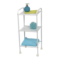 3-Tier Rolling Cart with Wheels Metal White - This elegantly-designed rolling cart is metal and has a white powder coating finish. It features 3-tier shelves. Great for as a simple storage solution at home or as a mobile carrying cart for essentials in your bathroom, this elegant bath furniture compliments any decor. It can hold towels, bathroom toiletries or even decorative accessories. Four smooth-rolling casters allow you to move this cart around the room or bathroom as needed. Easy to assemble with the included hardware. Clean with warm soapy water. Length 12.6-Inch, width 11-Inch and height 28-Inch. Color white. It's an easy and elegant way to maximize your bathroom's available space while providing functional storage and shelving for all your necessities. Complete your decoration with other products of the same collection. Imported.