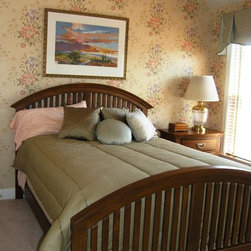 Interior Design, Window Treatments - Guest Bedroom, Wallpaper, Wood Blinds, Custom Drapery Valances in Green, Blue, White Gingham Plaid Design with coordinating Custom Pillows, Wall Decor, Landscape Designs, Townhome Living Ideas Fairfax VA
