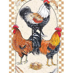 IdeaStix - Pretty Boy Roosters Single Toggle Peel and Stick Switch Plate Cover - SwitchStix transforms an ordinary switch plate into beautiful art decorations.  Made from proprietary rubber-resin, Premium SwitchStix Peel and Stick Decor offers a quick and easy solution for decorating plain switch plates.  With features like water/heat/steam-resistant, nontoxic, washable, removable and reusable, it is ideal for any room in the house or office.  SwitchStix fits standard size switch plates and applies right over the switch plate and it even covers the screw holes.  Suitable for standard size non-porous and smooth switch plates.  Discard mid-section for toggle switch placement.  Surface can be washed with most household cleaning products.