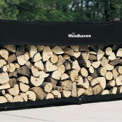 "Woodhaven - 10 Foot Firewood Rack w Standard Cover - Includes standard short cover, black plated eight stainless steel nuts and bolts. 1/2 cord rack. Arc welded end sections. Drill precision holes. Powder coated finish. Cover allows airflow to prevent mold, mildew and promote curing process. Protects top of firewood from weather. Four reinforced pockets. Pockets allows cover to slide down on vertical tubes to level of firewood. Reinforced stitching in all stress points. Velcro panel for quick and easy access to firewood. Accommodates upto 24 in. firewood. Lifetime structural warranty. Made from mild steel. Made in USA. Assembly required. 120 in. L x 14 in. W x 48 in. H (56 lbs.)This unit is 12 in. longer than ""standard"" 0.25 cord firewood racks and holds 25% to 35% more than others."