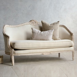 Vintage Pink White Oval Canape in Louis XV style - Pale pinky-white Oval canape in Louis XV style. Feminine curving and enclosed sides make this glamorous. Upholstered in canvas cotton duct. Note: there are some dust marks on this piece that are subtle, but still a bit noticable.