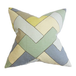 "The Pillow Collection - Jeppe Geometric Pillow Blue 18"" x 18"" - This toss pillow is ideal accessory to use in your living room or bedroom. It lends a modern and cozy vibe to your interiors with its 100% plush cotton material. Measures 18"", this accent pillow suits most furniture, including the bed, sofa or bench. The bold geometric detail is complemented with the blue, green, neutral, yellow and brown hues. Hidden zipper closure for easy cover removal.  Knife edge finish on all four sides.  Reversible pillow with the same fabric on the back side.  Spot cleaning suggested."