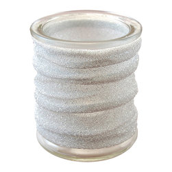 LumaBase Luminarias - Glass Candle Holder with Metallic Wrap - 4 Count Silver - Add excitement and flair to your next occasion or event with metallic fabric wrapped glass candle holders. Use with a tea light candle or battery operated LED light.  They can create a whimsical elegant mood.