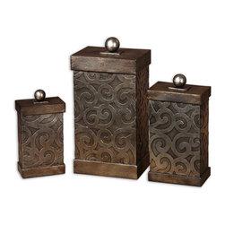 Uttermost - Antique Silver Leaf Nera Boxes Set of 3 - Antique Silver Leaf Nera Boxes Set of 3