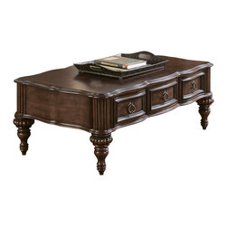 Homelegance - Homelegance Prenzo 54 Inch Cocktail Table with Drawers in Brown - European elegance at its best. Flowing lines, detailed carvings, beautiful veneer treatments and grand scale are some of the many design elements of our Prenzo collection .