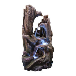 Alpine - Tree Trunk Fountain with LED Lights - 22 inch - Features:Dimensions: