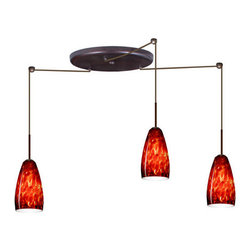 Besa Lighting - Besa Lighting 3BW-150941 Chrissy 3 Light Cord-Hung Mini Pendant - The Chrissy pendant features a softly radiused glass, that will gracefully blend into almost any decorating theme. Our Garnet glass is full of floating, vibrant red tones with a mix of black and white tones behind them. When the glass is lit the fiery color palette illuminates to exude a harmonious display. This decor is created by rolling molten glass in small bits of deep red hues called frit along with black glass powders. The result is a multi-layered blown glass, where frit color is nestled between an opal inner layer and a clear glossy outer layer. This blown glass is handcrafted by a skilled artisan, utilizing century-old techniques passed down from generation to generation. Each piece of this decor has its own artistic nature that can be individually appreciated. The cord pendant fixture is equipped with three (3) 10' SVT cordsets and a 3-light large round canopy, three (3) suspension stemhooks included.Features: