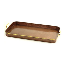 "24""x 15¼""x 2"" Oblong Antique Copper Tray w/ Cast Brass Handles - This antique copper-finished serving tray with solid brass handles makes a statement as delicious as the food you'll be serving on it. Made of hand-hammered iron. Generous 24"" x 14 1/5"" x 2"". Non tarnishing. Wipe clean"
