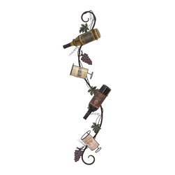 ecWorld - Vineyard Tour Metal Wall Hanging 4-Bottle Wine Rack - A chic way to both store and display your favorite vintages, this wall wine rack holds 4 bottles and features a vine design that will lift up any wall decor.
