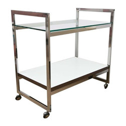 Used Milo Baughman Style Silver Bar Cart - A Mid-Century Modern bar cart in the style of Milo Baughman and Thayer Coggin. In addition to the eye-catching chrome, it has perfect proportions, a good weight, and super clean design. It was very nicely made and is in excellent all original condition, with a melamine surfaced bottom shelf.