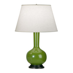 Robert Abbey - Robert Abbey Devon Bronze Table Lamp with Oyster Linen Shade 1466X - Kiwi Glazed Ceramic Body