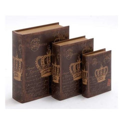 """Benzara - Wooden Book Box with Rich Design and Natural Texture (Set of 3) - Wooden Book Box with Rich Design and Natural Texture (Set of 3). Crafted from high quality wood veneer material, this wooden book box seems to be an effective gift item, provides the opportunity to be painted and works good as a personal use item too. It comes with the following dimensions Dimension: 10""""W x 3.5""""D x 13""""H. Some assembly may be required."""