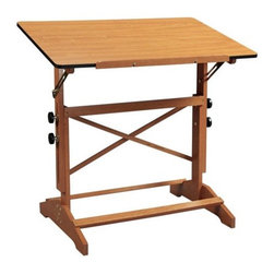 Alvin and Co. - Pavilion Wood Drafting Table - Perfect table for the aspiring artist, crafter or hobbyist. Despite its light and attractive appearance, this table is surprisingly strong, stable and sturdy. Available in two board sizes. Features: -Board angle adjusts 0 to 60.-Height adjusts 31'' to 40'' and is firmly secured by twin adjustment knobs on each side.-Brass hardware with easy-grip adjustment knobs.-Cherry wood top includes vinyl edges.-Solid wood base construction.-Distressed: No.Dimensions: -Supplied with 24'' wood pencil ledge.-Top dimensions: 36'' W x 24'' D - 30 lbs.-Top dimensions: 42'' W x 30'' D - 39 lbs.