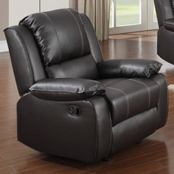 None - Gavin Brown Bonded Leather Reclining Chair - Enjoy the comfort and sleek style of this Gavin bonded leather reclining chair. Crafted of durable brown upholstery with a 19-inch deep seat,this chair offers a relining function for the ultimate in comfort and relaxation.