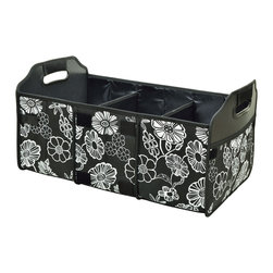 Picnic at Ascot - Collapsible Turnk Organizer, Floral - Durable 3 section trunk organizer. Great for keeping sports gear, cleaning supplies and groceries organized. Mesh pocket for maps etc. Foldable when not in use to maintain trunk space. Designed in the USA. Lifetime Warranty.