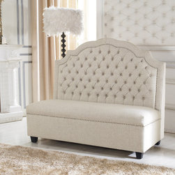 Baxton Studio - Baxton Studio 'Madelyn' Beige Linen Modern Banquette Bench - This well-priced banquette has designer details like tufting, nailheads and an interesting curved back. It would look great in any application in any room.