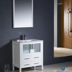 """Fresca - Fresca Torino 30"""" Modern Bathroom Vanity w/ Integrated Sink - White - Fresca is pleased to usher in a new age of customization with the introduction of its Torino line. The frosted glass panels of the doors balance out the sleek and modern lines of Torino, allowing it to fit perfectly in both 'Town' and 'Country' décor.The Fresco Torino bathroom vanity is 30"""" wide and 33.75"""" high, and boasts 18.13"""" deep under-sink storage space – perfect for towels and other bathroom necessities. This bathroom vanity is completed with a 20.75"""" wide x 31.5"""" high x 1.25"""" deep wall mounted mirror for optimal function and style.Items included: Main Vanity Cabinet(s), Countertop(s), Vessel/Integrated Sink(s), Mirror(s), Faucet(s), P-Trap and Pop-Up Drain(s), Standard hardware needed for installation.DecorPlanet is proud to offer Fresca Bathroom products. Fresca is a leading manufacturer of high-quality vanities, accessories, toilets, faucets, and everything else to give you the freshest bathroom in the neighborhood. Fresca is known for carrying the latest and most popular styles in modern and contemporary bathroom design that are made with high quality materials and superior workmanship."""