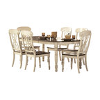 Homelegance - Homelegance Ohana 7-Piece Rectangular Dining Room Set in White/ Cherry - The design of Ohana collection captures the essence of a casual country home. Its antique white and warm cherry, or antique black and warm cherry finishes give it a striking 2-toned appearance.