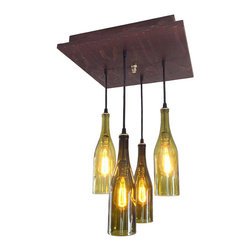 Industrial Lightworks - Mid Century Chandelier - Rustic Wine Bottle Lighting - Recycled Wine Bottle Chandelier