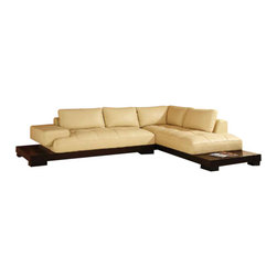 Creative Furniture - Manhattan Beige Leather Sectional Sofa - The Manhattan Sectional is a new contemporary view, for the new millennium. It has soft-lined design and cream-colored leather and combines a style and functionality.