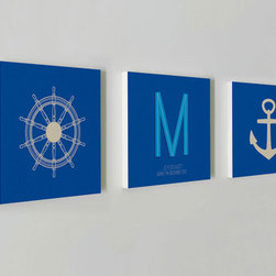 "Nursery Code - Nursery wall decor set of 3 standouts- Name initial and date of birth- Boys room - This listing is for set of three prints mounted professionally on 1"" THICK STANDOUT."