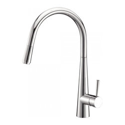 Ruvati - Ruvati RVF1221CH Single Handle Pull-Down Kitchen Faucet - Polished Chrome - This premium Ruvati kitchen faucet from the Cascada collection is constructed of solid brass giving it exceptional durability. The ceramic disc cartridge ensures drip-free functionality. The faucet can be installed into countertops up to two inches thick. Hot and cold water connection hoses are included.