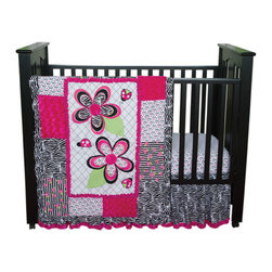 """Trend Lab - Zahara - 3 Piece Crib Bedding Set - Zahara 3 Piece Crib Bedding Set by Trend Lab brilliantly mixes fashion-forward black and white with bright pops of paradise pink and electric lime. Luxurious paradise pink rosette velour is mixed with a trend-right zebra print, cute confetti dots and amped up black and white stripes with floral accents. Ladybugs and flowers bring whimsy to the nursery for your little diva!. Quilt measures 35"""" x 45"""" and features embroidered and appliqued flowers and ladybugs set against a black and white diamond print and surrounded by a large multi-patch frame. Paradise pink rosette velour is combined with a variety of cotton percale prints, including a black and white zebra print, a paradise pink and black confetti dot print on a white background and a black and white stripe print with paradise pink and electric lime floral accents. The quilt is backed with the adorable confetti dot and is finished off with a girly zebra print ruffled trim. Confetti dot print sheet in paradise pink and black on a white background features deluxe 10"""" deep pockets and fits a standard 52"""" x 28"""" crib mattress. Elastic around the entire opening ensures a more secure fit. Ruffled crib skirt with 15"""" drop features a fashionable zebra print and is trimmed with paradise pink rosette velour. Matching Zahara Crib Bumpers sold separately. Complete your child's room with coordinating accessories from the Zahara collection by Trend Lab."""