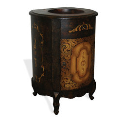 Round Solo Vanity, French Black Crackle with Old Arabezque Scrolls - Round Solo Vanity, French Black Crackle with Old Arabezque Scrolls