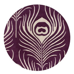 """Chandra - Contemporary Thomaspaul Round 7'9"""" Round Purple-White Area Rug - The Thomaspaul area rug Collection offers an affordable assortment of Contemporary stylings. Thomaspaul features a blend of natural Purple-White color. Hand Tufted of New Zealand Wool the Thomaspaul Collection is an intriguing compliment to any decor."""