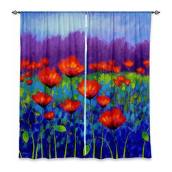 "DiaNoche Designs - Window Curtains Lined by John Nolan Poppy Meadow - Purchasing window curtains just got easier and better! Create a designer look to any of your living spaces with our decorative and unique ""Lined Window Curtains."" Perfect for the living room, dining room or bedroom, these artistic curtains are an easy and inexpensive way to add color and style when decorating your home.  This is a woven poly material that filters outside light and creates a privacy barrier.  Each package includes two easy-to-hang, 3 inch diameter pole-pocket curtain panels.  The width listed is the total measurement of the two panels.  Curtain rod sold separately. Easy care, machine wash cold, tumble dry low, iron low if needed.  Printed in the USA."