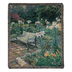 Manual - Thomas Kinkade Eternal Springtime Tapestry Throw Blanket 50 Inch x 60 Inch - This multicolored woven tapestry throw blanket is a wonderful addition to any home. Made of cotton, the blanket measures 50 inches wide, 60 inches long, and has approximately 1 1/2 inches of fringe around the border. The blanket features a depiction of Thomas Kinkade's 'Eternal Springtime'. Care instructions are to machine wash in cold water on a delicate cycle, tumble dry on low heat, wash with dark colors separately, and do not bleach. This comfy blanket makes a great gift for friends and family.
