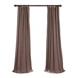 "Exclusive Fabrics & Furnishings, LLC - River Rock Grey Cotton Twill Curtain - 100% Cotton. 3"" Pole Pocket with Hook Belt & Back Tabs. Lined . Imported. Weighted Hem. Dry Clean Only."