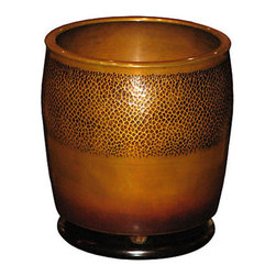 Japanese Hammered Bronze Hibachi - Japanese hand hammered meiji period bronze hibachi (hand warmer) from Kyoto, Japan. Slightly tapered design with elm wood base. Use as a plant holder or for orchids.