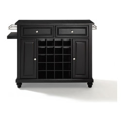 Crosley - Cambridge Solid Black Granite Black Top Wine Island - Dimensions:  18 x 48 x 32.5 inches