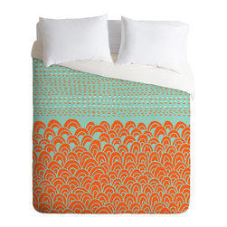 DENY Designs - DENY Designs Budi Kwan The Infinite Tidal Light Blue Duvet Cover - Lightweight - Turn your basic, boring down comforter into the super stylish focal point of your bedroom. Our Lightweight Duvet is made from an ultra soft, lightweight woven polyester, ivory-colored top with a 100% polyester, ivory-colored bottom. They include a hidden zipper with interior corner ties to secure your comforter. It is comfy, fade-resistant, machine washable and custom printed for each and every customer. If you're looking for a heavier duvet option, be sure to check out our Luxe Duvets!