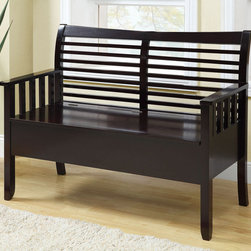 Monarch - Solid Wood 48in.L Bench with Storage, Cappucino - Accentuate your entrance way with this 48 in. long storage bench. Conveniently stow away blankets, scarves and mitts or simply sit on it while you put on your shoes! This cappuccino solid wood bench and horizontal slat back offer sturdy support. This bench that can also be used as an accent piece in your home, it will no doubt give a warm feel to any decor.