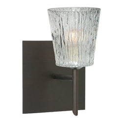Besa Lighting - Nico Bronze One-Light Halogen Wall Sconce with Clear Stone Glass - - Clear Stone is a clear blown glass with an outer texture of coarse sandstone. Inspired by the elements of nature, the appearance of the surface resembles the beautiful cut patterning melting ice over a rock formation. This blown glass is handcrafted by a skilled artisan, utilizing century old techniques that have been passed down from generation to generation. Each piece of this d�cor has its own artistic nature that can be individually appreciated.  - Bulbs Included  - Shade Ht (In): 3.75  - Shade Wd/Dia (In): 3.5  - Canopy/Fitter Ht (In): 5  - Canopy/Fitter Dia/Wd (In): 5  - Title XXIV compliant  - Primary Metal Composition: Steel  - Shade Material: Glass  - NOTICE: Due to the artistic nature of art glass, each piece is uniquely beautiful and may all differ slightly if ordering in multiples. Some glass decors may have a different appearance when illuminated. Many of our glasses are handmade and will have variances in their decors. Color, patterning, air bubbles and vibrancy of the d�cor may also appear differently when the fixture is lit and unlit. Besa Lighting - 1SW-512500-BR-SQ