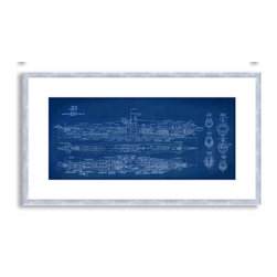 Gallery Direct - St. John's 'Submarine Blueprint' Framed Paper Art, 28x17 - Striking, contemporary artwork is framed and matted.