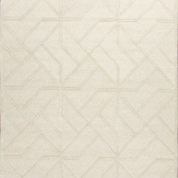 Jaipur - Contemporary Lounge 5'x8' Rectangle Antique White Area Rug - The Lounge area rug Collection offers an affordable assortment of Contemporary stylings. Lounge features a blend of natural Antique White color. Hand Tufted of 100% Wool the Lounge Collection is an intriguing compliment to any decor.