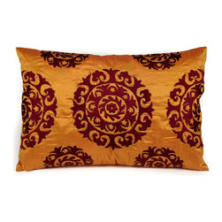 """Silk Suzani Lumbar Pillow, Golden Orange - The kaleidoscopic Suzani Pillow is a beautiful addition to any living space. Suzani in Persian means """"needle work"""" and the silk based rectangular Suzani features intricate silk embroidery."""