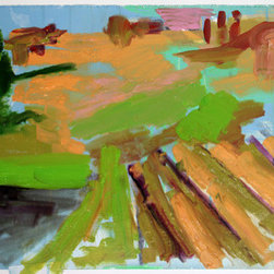 """Abstract Italian Landscape 1"" (Original) By Pamela Staker - Colorful, Loose, Expressive Abstract Landscape"