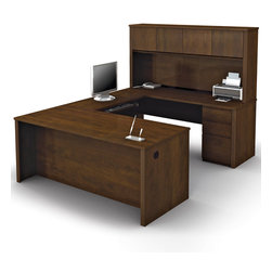 """Bestar - Prestige U-Shaped Workstation Kit in Chocolate - Prestige + is a timeless modular collection that will adapt to your needs, over time. With its wide range of products, it is ideal for every type of office. The desk is made of a durable 1"""" commercial grade work surface with melamine finish that resist scratches, stains and wears. It features an impact resistant 0.25 cm PVC edge, a full modesty panel and classic moldings. Grommets are available on the desk for efficient wire management. The executive desk, the hutch, the credenza and the bridge meet or exceed ANSI/BIFMA performance standards. Each pedestal offers two utility drawers and one file drawer with letter/legal filing system. One lock secures bottom two drawers. The drawers are on ball-bearing slides and the keyboard shelf has double extension ball-bearing slides for a smooth and quiet operation. The hutch for credenza offers large closed storage space, efficient wire management and side moldings. The opening has 11'' 3/4 high which is ideal for letter format binders. The doors are fitted with strong adjustable hinges. The station is fully reversible.; Color: Chocolate ; Dimensions: 71.1""""L x 92.6""""W x 66.8""""H"""