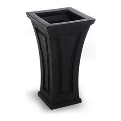 Mayne Inc. - Cambridge Tall Planter Black - The Cambridge planter offers a blend of modern and traditional design.  The curved shape creates a unique and classy look providing a beautiful accent to the entrance of any home. Single wall molded design, made with high-grade polyethylene. Self watering tray insert creates sub-irrigation water system and encourages root growth. The tray can be reversed to support a potted plant or removed so the planter can be completely filled with soil. Drainage holes to be pre-drilled by customer depending on desired use of the planter. Opening Dimension is 11in x 11in.  Approximately 8 gallon soil capacity, 6.5 gallon water capacity. 15-year limited warranty.