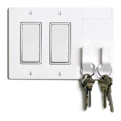 Walhub - 2Hang // Rocker - Keep track of your keys, umbrella or purse with this cool light switch plate. The integrated design of this 2-hook light switch incorporates an elegant cover with two hooks that hold those things that you carry everywhere at your fingertips.