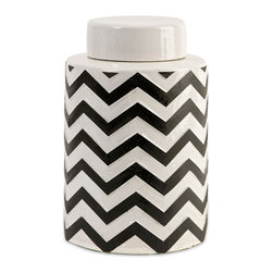 Imax Corp - Chevron Small Canister w/ Lid - The most popular twist on stripes covers this small lidded canister that looks great in a variety of spaces.
