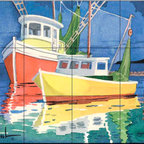 The Tile Mural Store (USA) - Tile Mural - Fishing Boats At Dock - Kitchen Backsplash Ideas - This beautiful artwork by Paul Brent has been digitally reproduced for tiles and depicts two fishing boats at dock.  Tile murals with ships and decorative ship tiles are timeless and are excellent to add to your kitchen backsplash tile project or your tub and shower surround bathroom tile project. Images of ships on tiles and pictures of sailboats on tiles add a unique element to your tiling project and are a great kitchen backsplash idea for a coastal home. Use a decorative tile mural of ships and boats for a wall tile project in any room in your home where you want to add interest to a plain field of wall tile. Bathrooms always look best with the addition of decorative wall tiles so why not add a tile mural with the image of a ship?