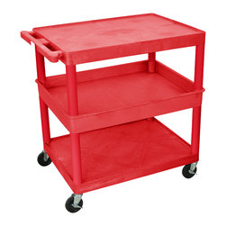 """Luxor - Luxor Tub Cart - RDTC212RD - These Luxor TC series utility carts are made of high density polyethylene structural foam molded plastic shelves and legs that won't stain, scratch, dent or rust. Features a retaining lip around the back and sides of flat shelves. Includes four heavy duty 4"""" casters, two with brake. Has a push handle molded into the top shelf."""